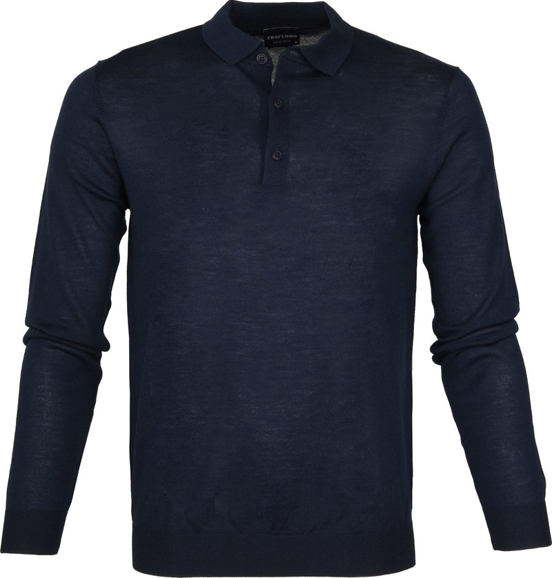 Profuomo Longsleeve Poloshirt Navy photo 0