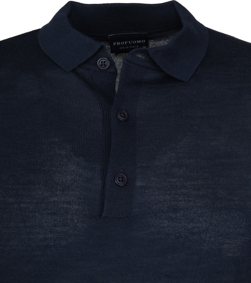Profuomo Longsleeve Poloshirt Navy photo 1