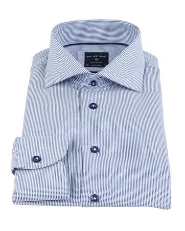 Detail Profuomo Overhemd Blauw SF Non Iron