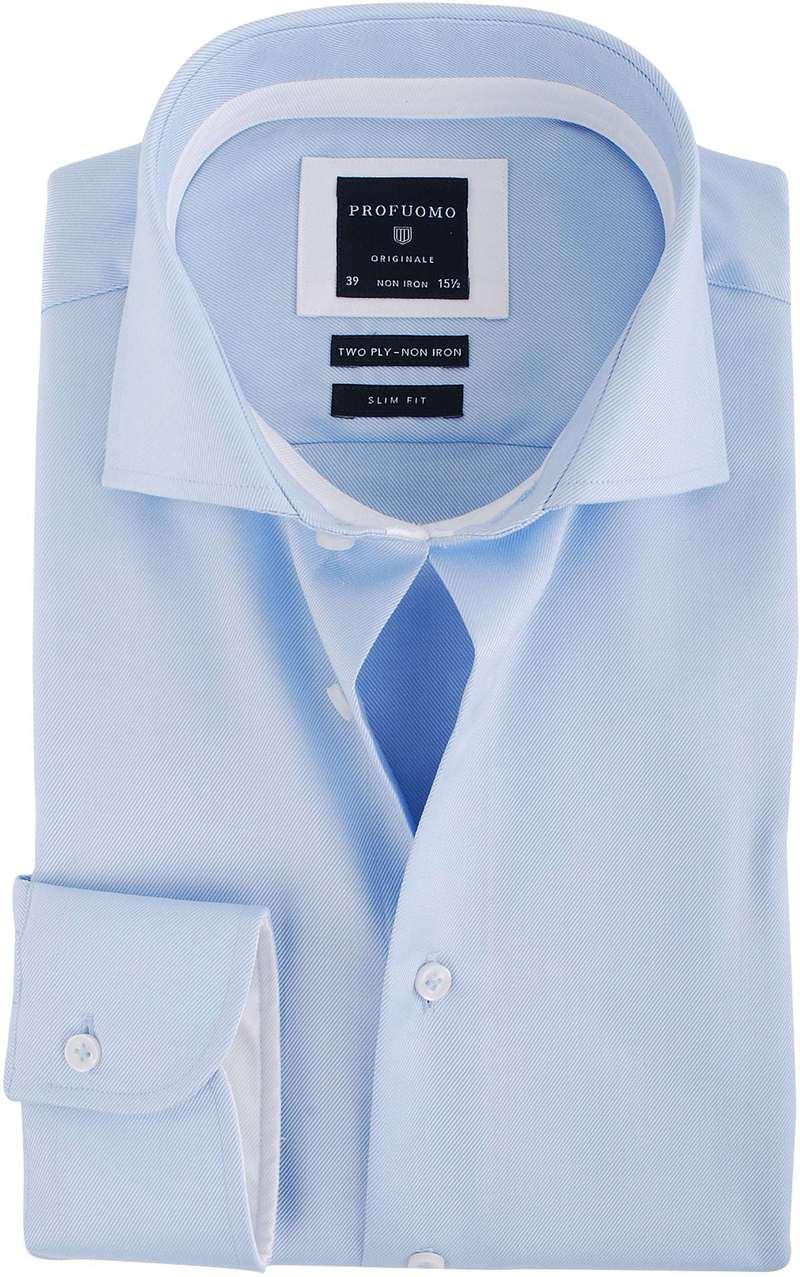 Profuomo Overhemd Blauw + Wit Contrast