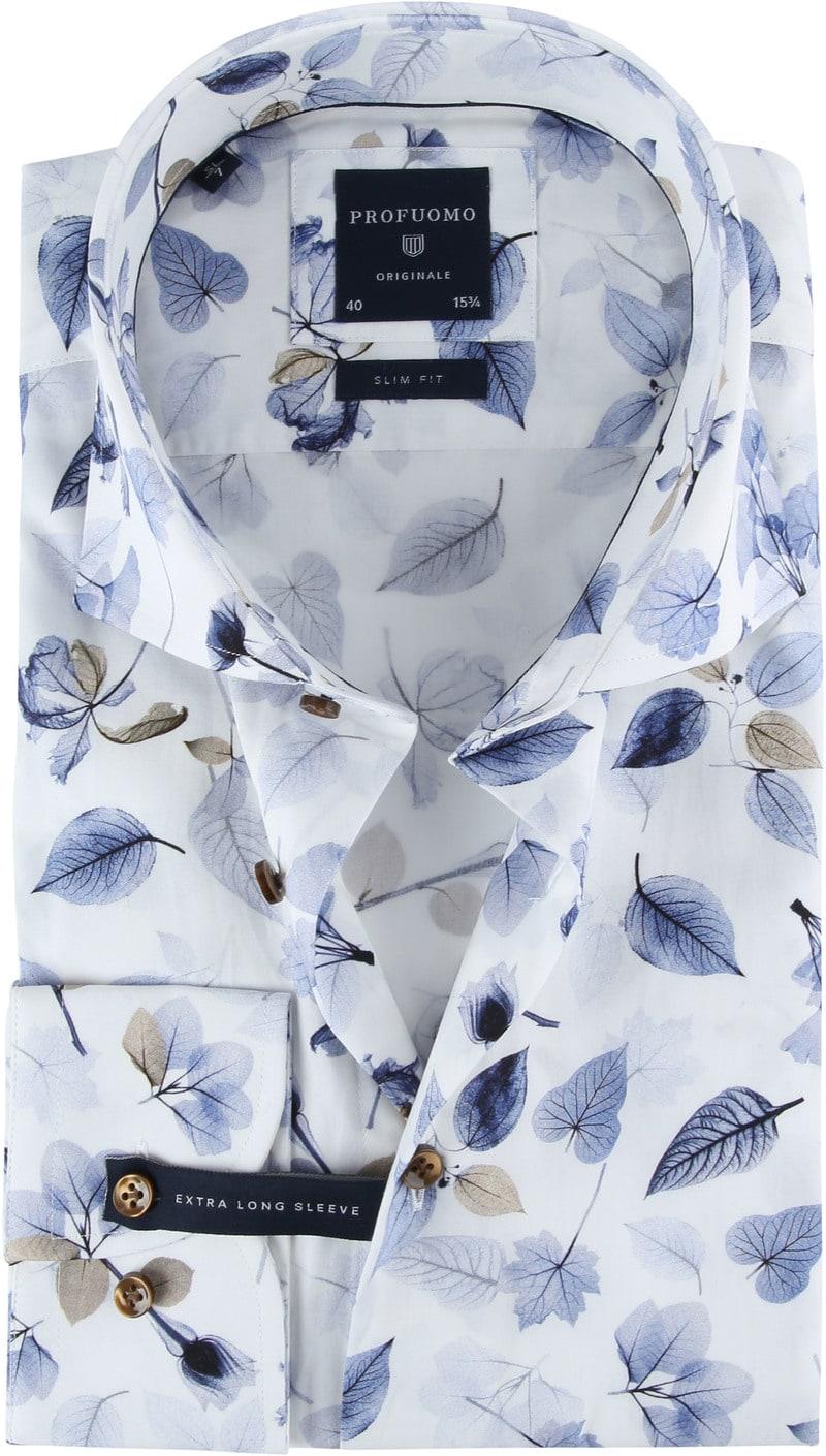 Profuomo Overhemd Bloemen SL7 Blauw foto 0