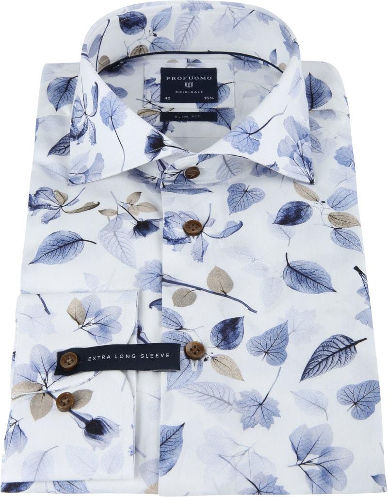 Profuomo Overhemd Bloemen SL7 Blauw foto 2