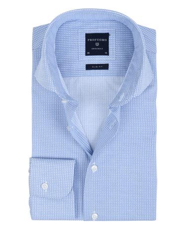 Detail Profuomo Overhemd Dessin Blauw