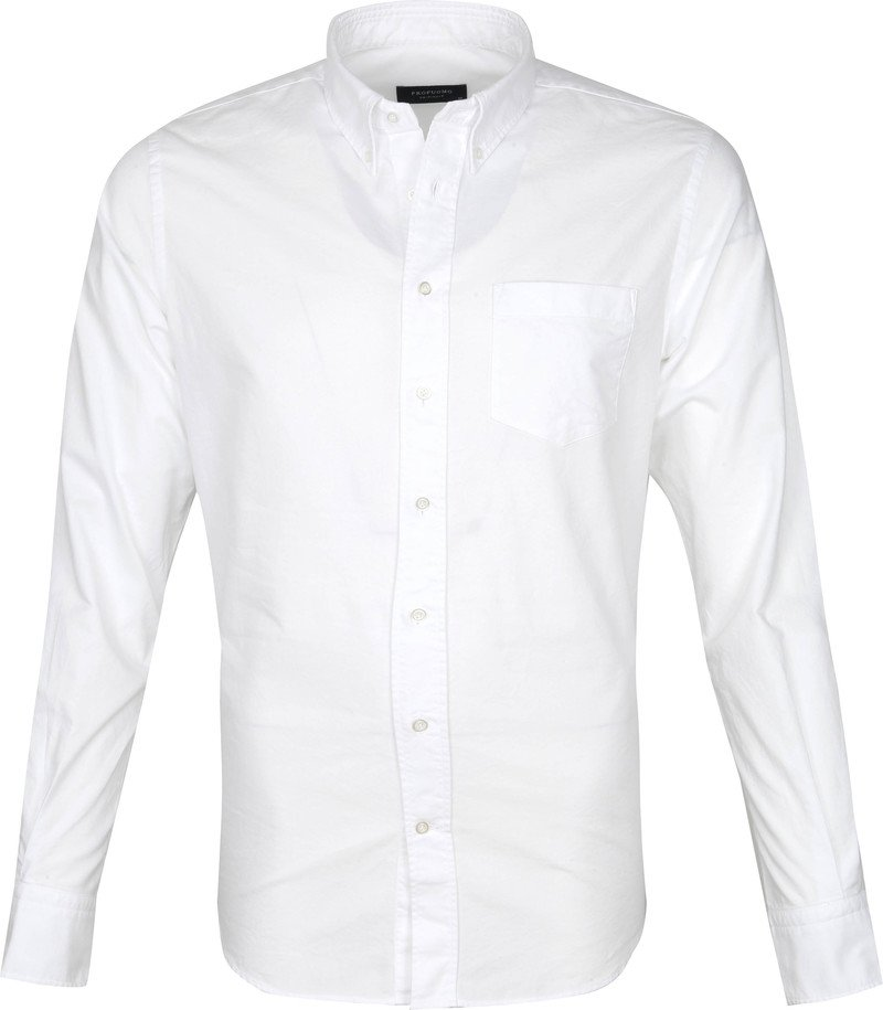Profuomo Overhemd Garment Dyed Wit - Wit maat M
