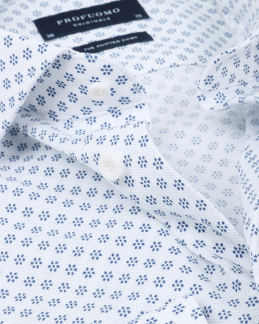 Detail Profuomo Overhemd Knitted Dessin Wit
