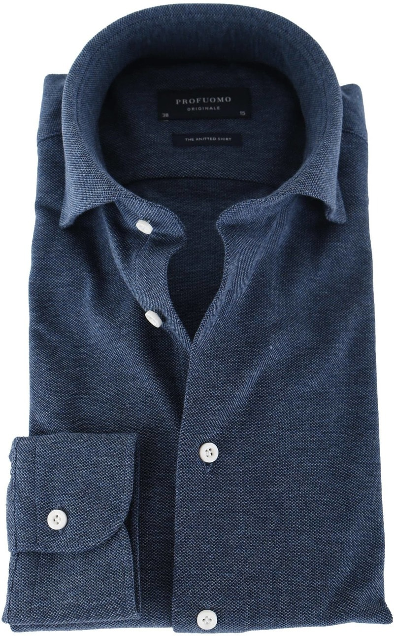 Detail Profuomo Overhemd Knitted Indigoblauw