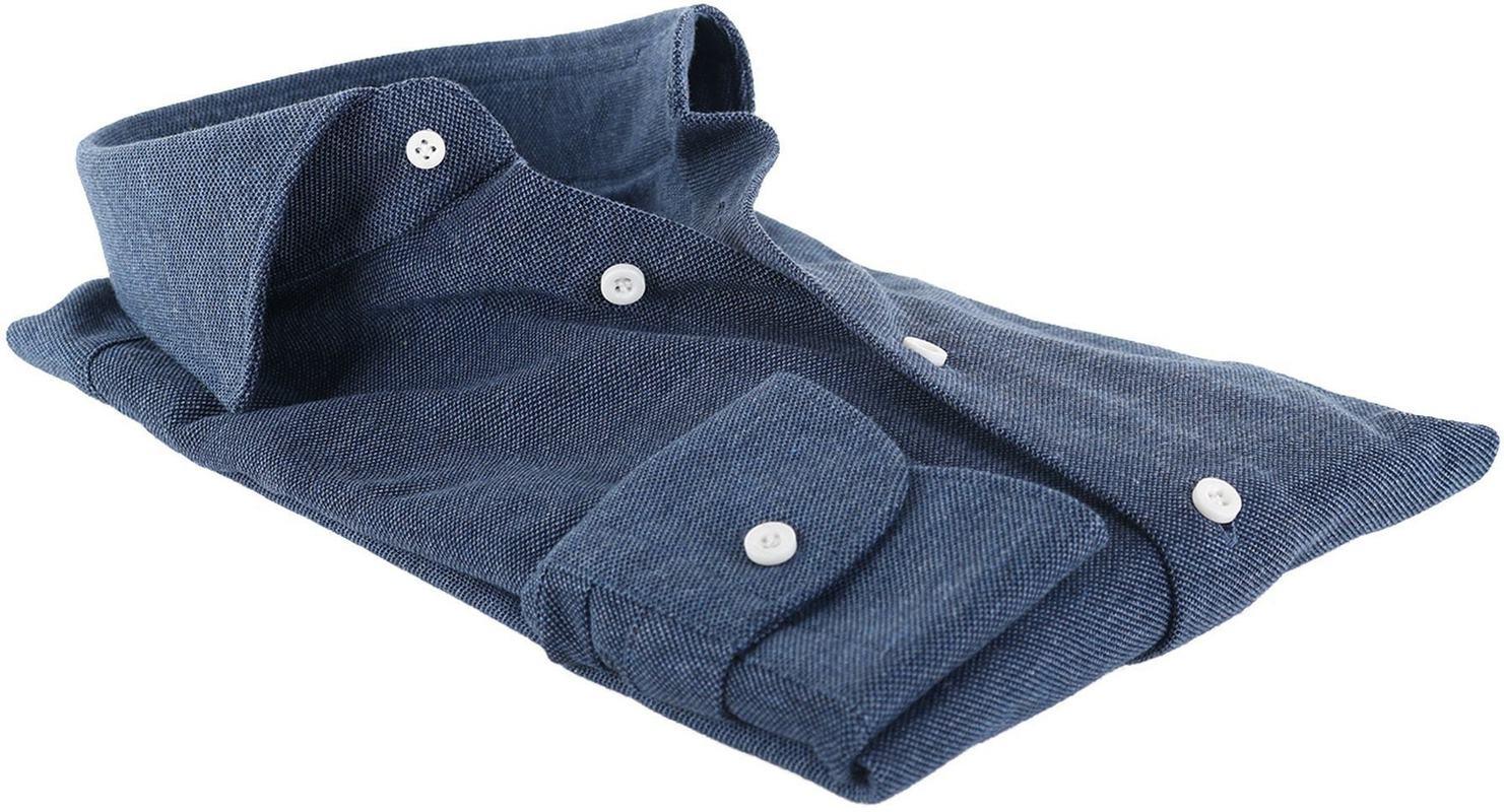 Profuomo Overhemd Knitted Indigoblauw foto 3