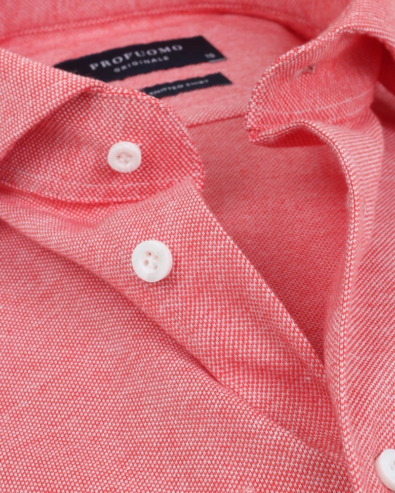 Detail Profuomo Overhemd Knitted Rood