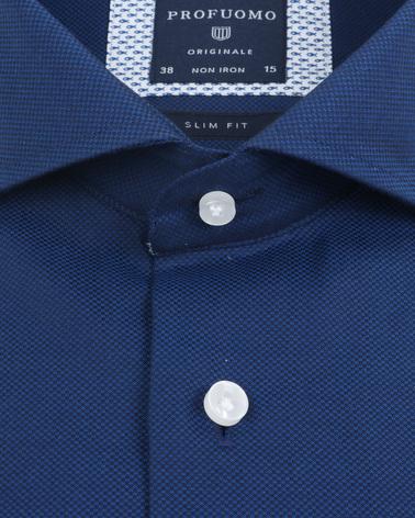 Detail Profuomo Overhemd Non Iron Navy