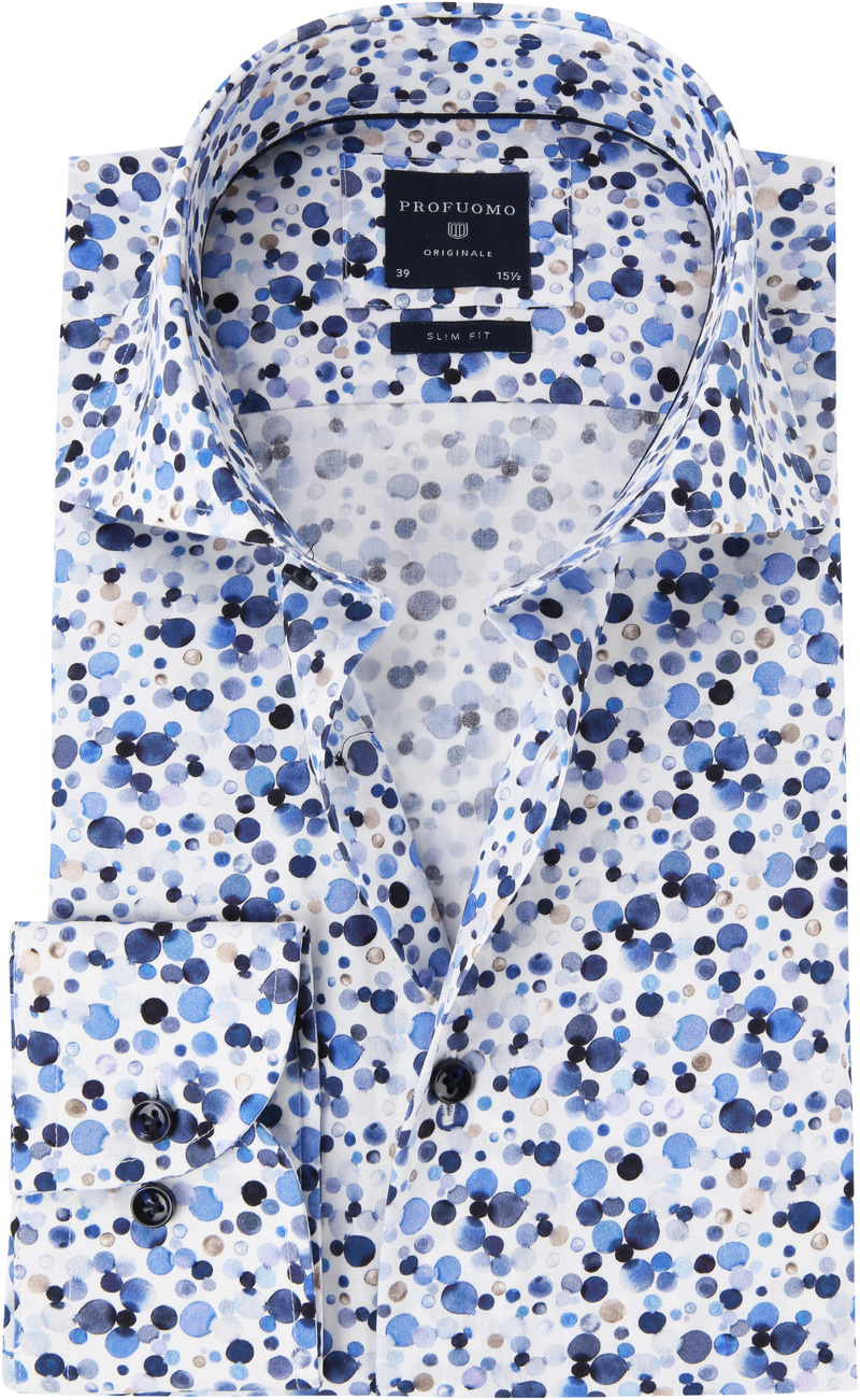 Profuomo Overhemd Polka Dot Blauw foto 0