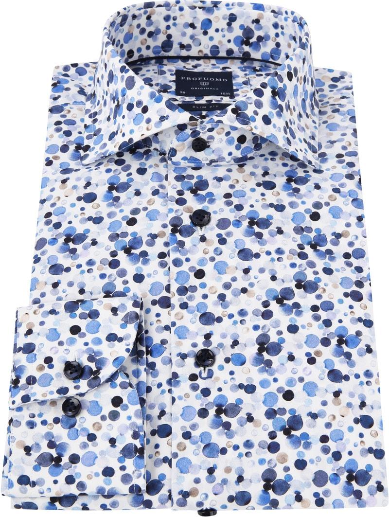 Profuomo Overhemd Polka Dot Blauw foto 2