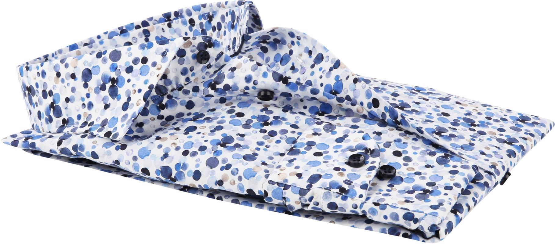 Profuomo Overhemd Polka Dot Blauw foto 3