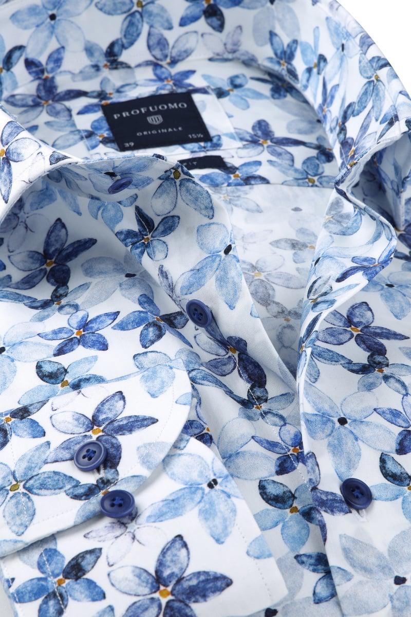 Profuomo Overhemd SF Bloemendessin Blauw foto 1