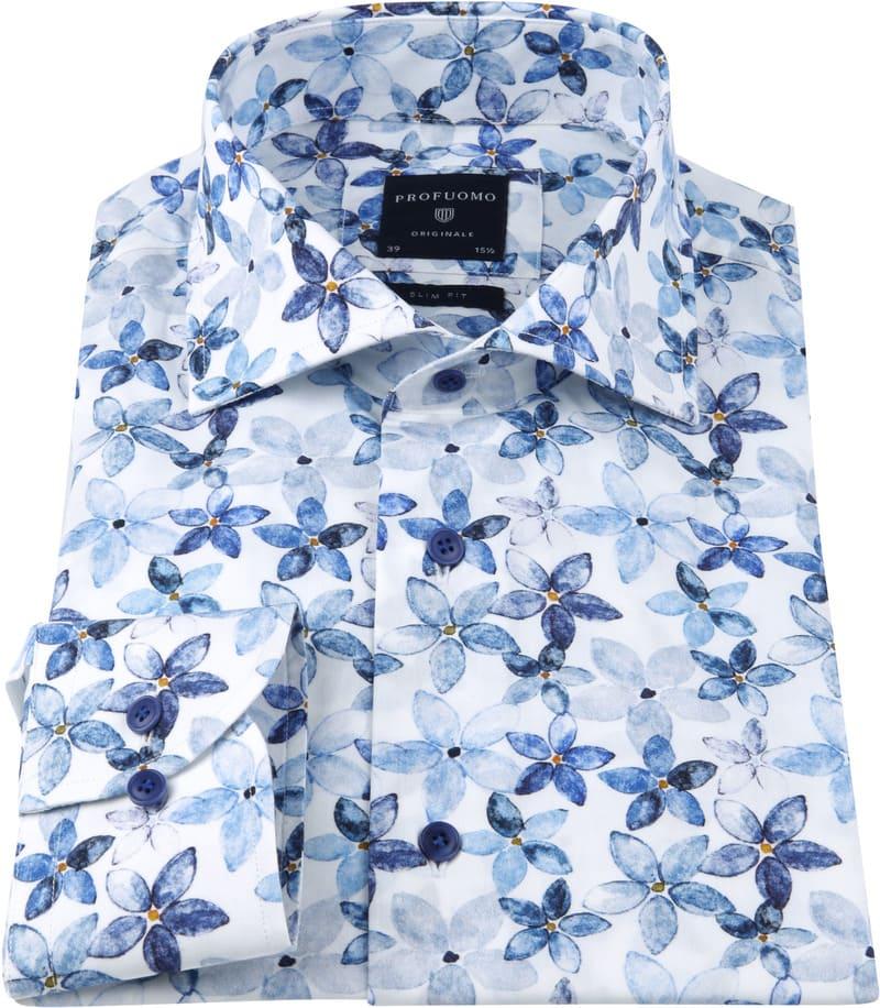 Profuomo Overhemd SF Bloemendessin Blauw foto 2