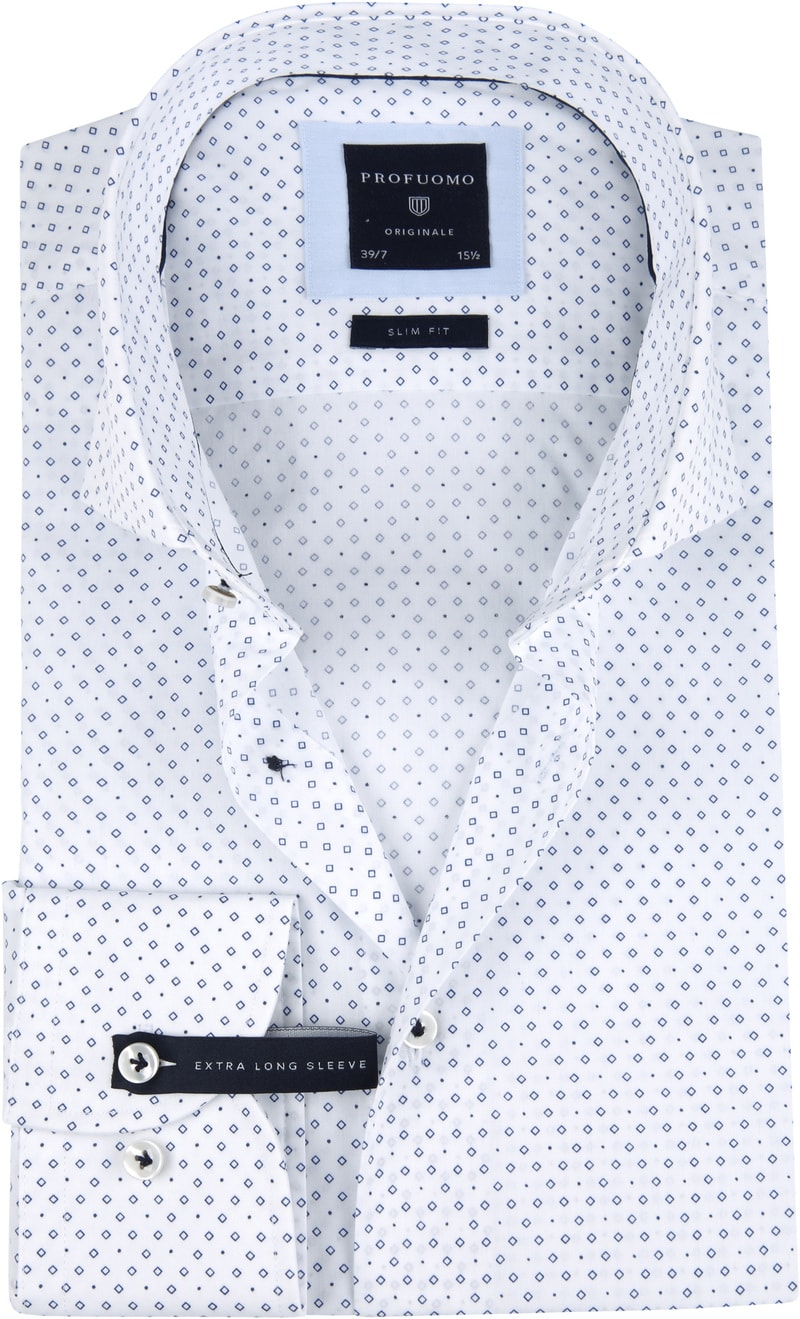 Profuomo Overhemd SF SL7 Printed Blauw foto 0