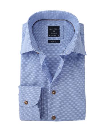 Profuomo Overhemd Strijkvrij Blauw Dessin  online bestellen | Suitable