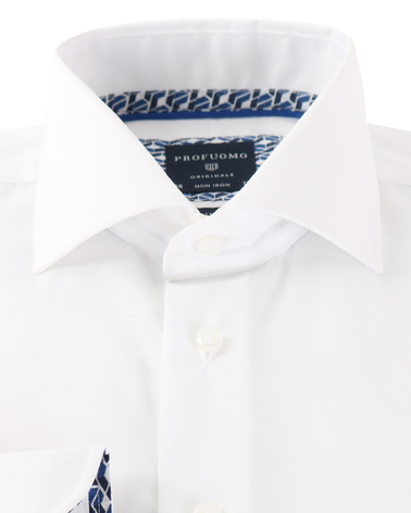 Detail Profuomo Overhemd Strijkvrij Wit