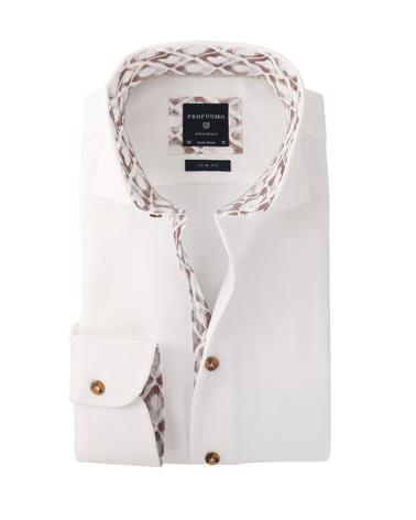 Profuomo Overhemd Strijkvrij Wit + Bruin  online bestellen | Suitable