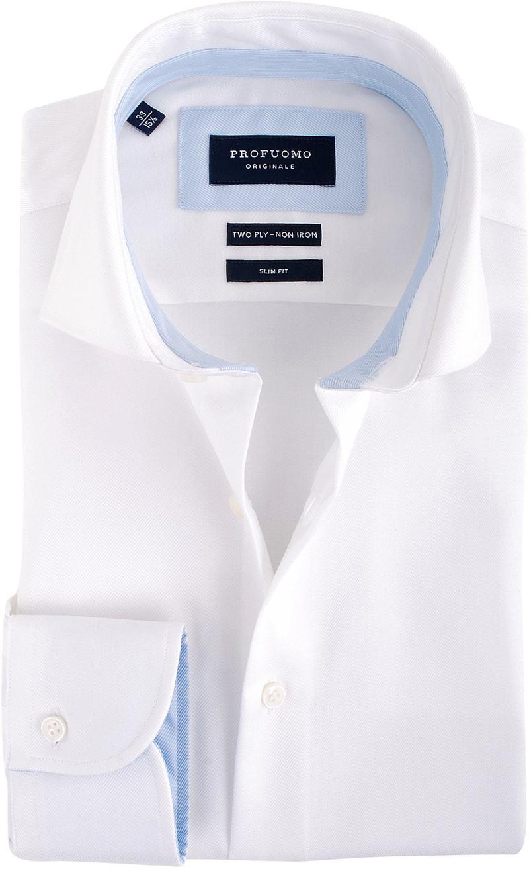 Profuomo Overhemd Wit + Blauw Contrast