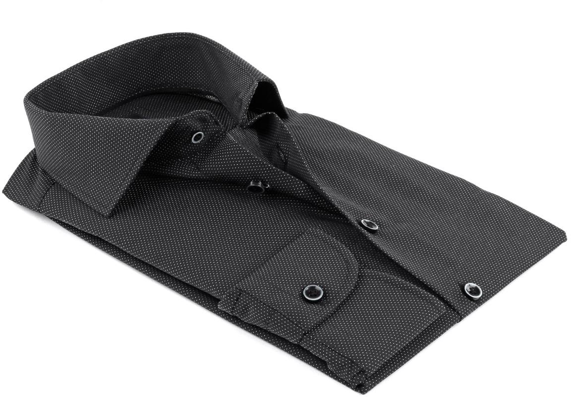 Detail Profuomo Overhemd Zwart SF Non Iron