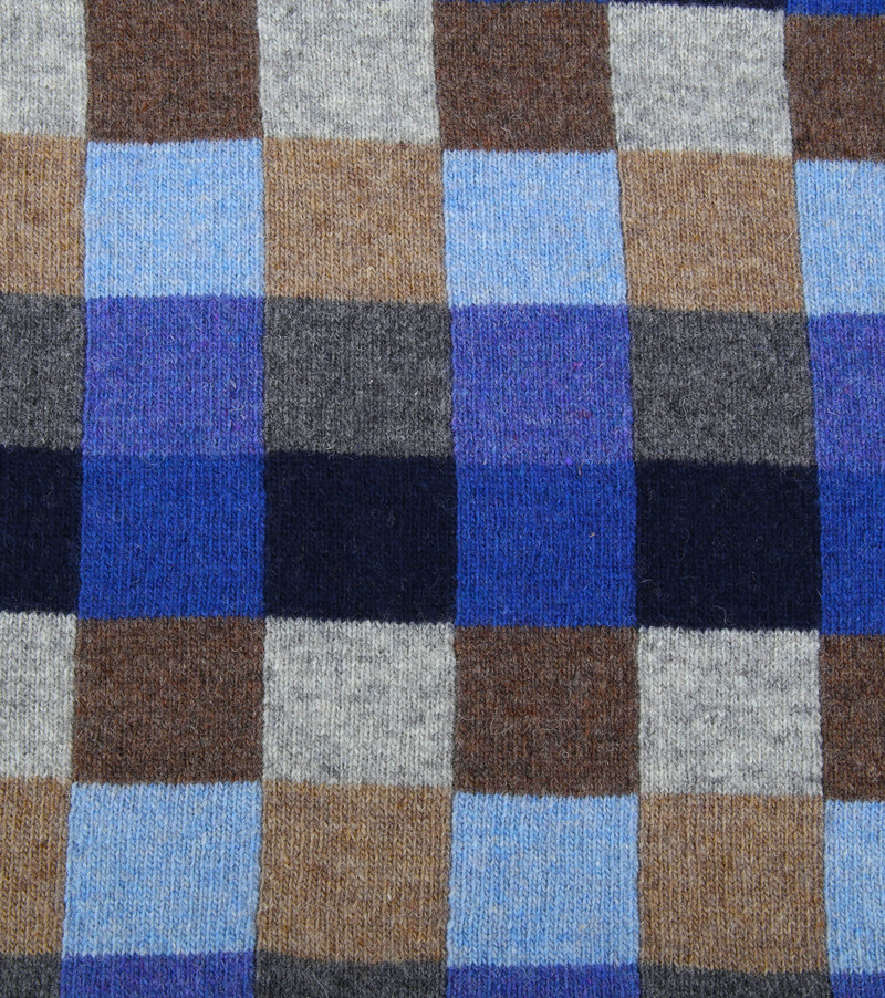 Profuomo Scarf Blue Checks Wool photo 1