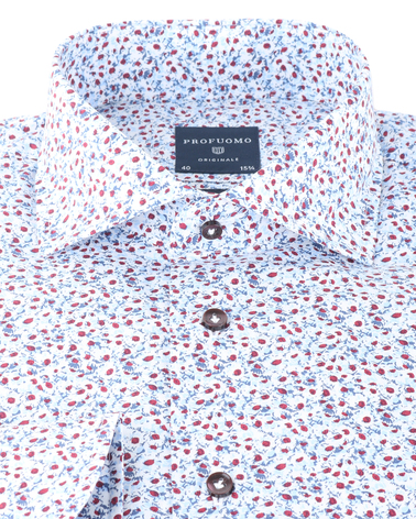 Detail Profuomo Shirt Blue Red Flower
