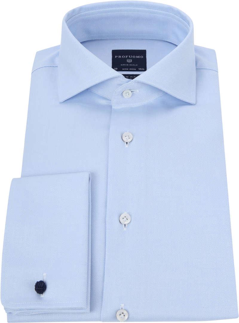 Profuomo Shirt Cutaway Double Cuff Blue photo 2