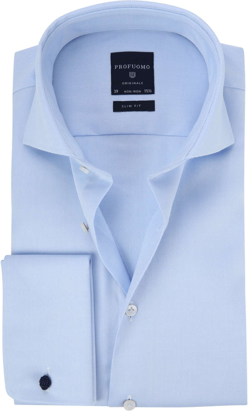 Profuomo Shirt Cutaway Double Cuff Blue photo 0