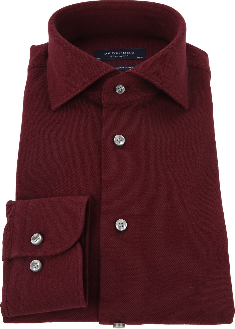 Profuomo Shirt Knitted Bordeaux photo 2