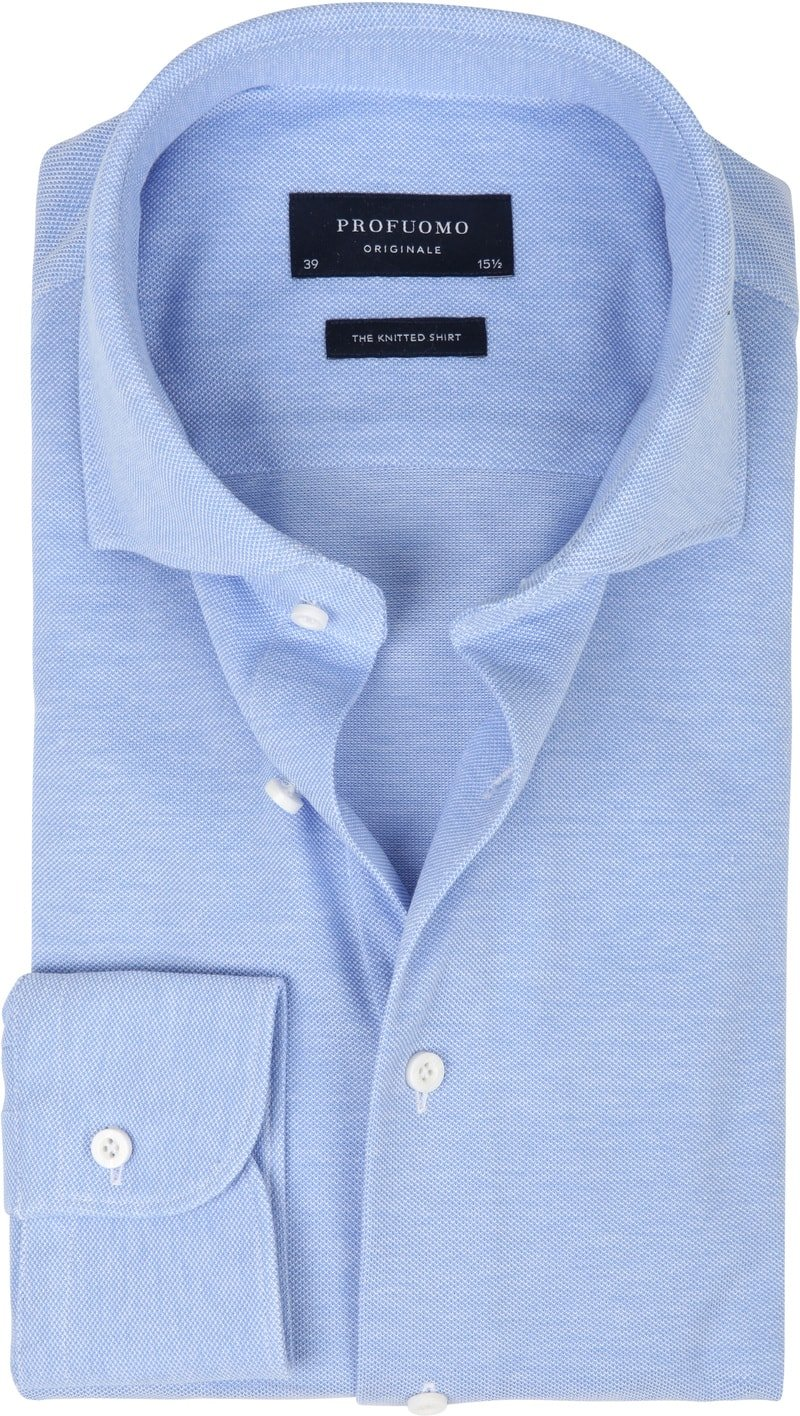 Profuomo Shirt Knitted Slim Fit Blue photo 0