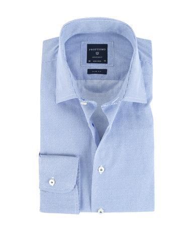 Profuomo Shirt Print Blauw Strijkvrij  online bestellen | Suitable