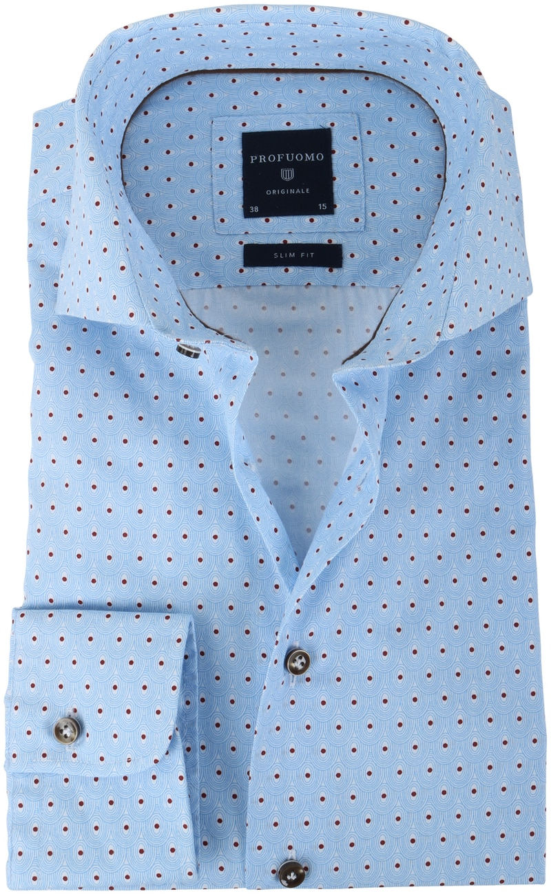 Profuomo Shirt Slim Fit Blue + Red Print photo 0