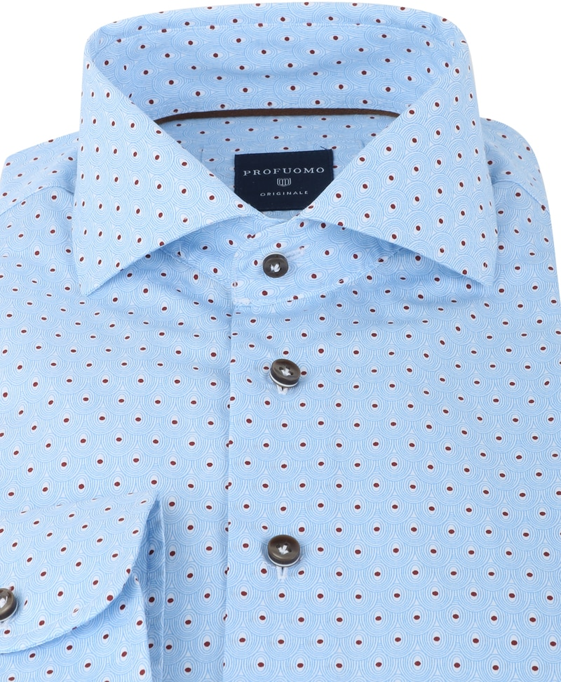 Profuomo Shirt Slim Fit Blue + Red Print photo 1
