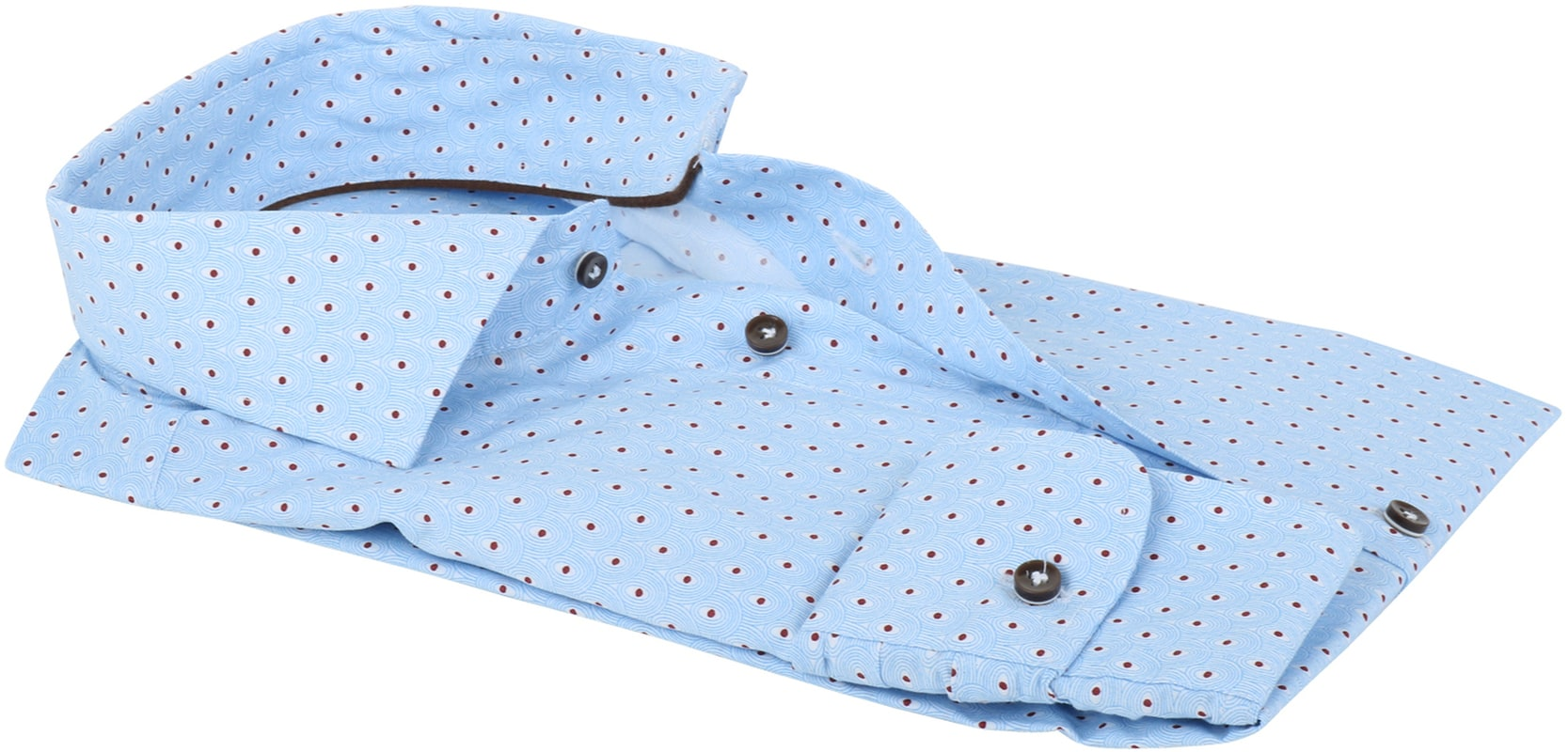 Profuomo Shirt Slim Fit Blue + Red Print photo 2