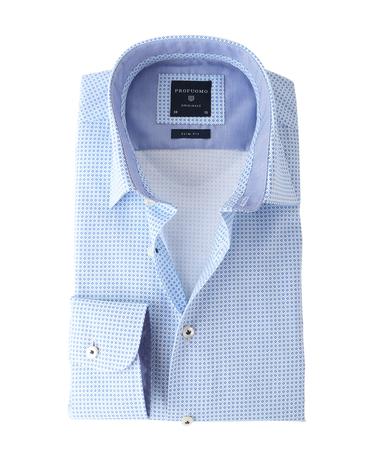 Profuomo Shirt Wit+Blauw  online bestellen | Suitable