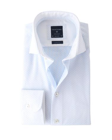 Profuomo Shirt Wit+Blauw Strijkvrij  online bestellen | Suitable