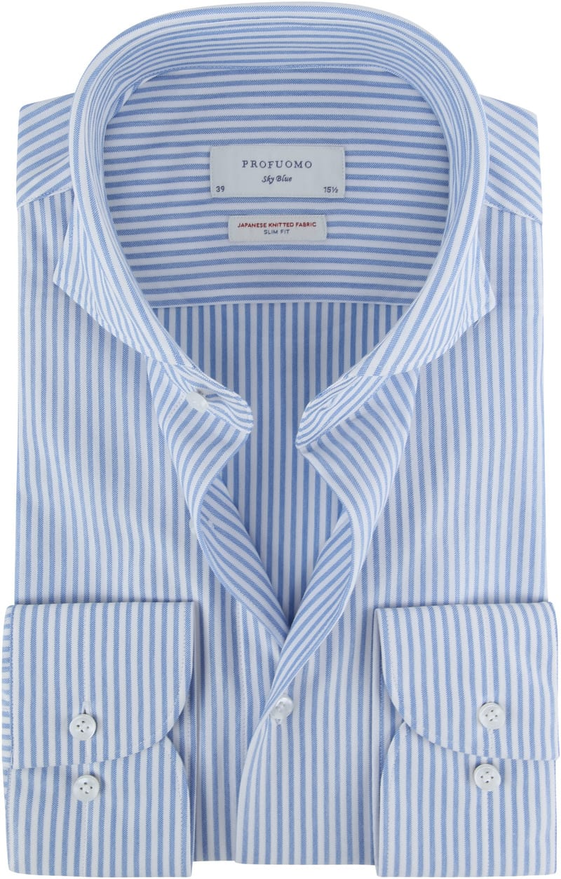 Profuomo Sky Blue Japanese Knitted Blue Stripes