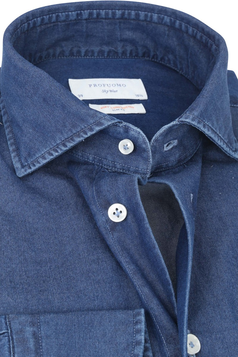 Profuomo Sky Blue SF Overhemd Denim Donkerblauw
