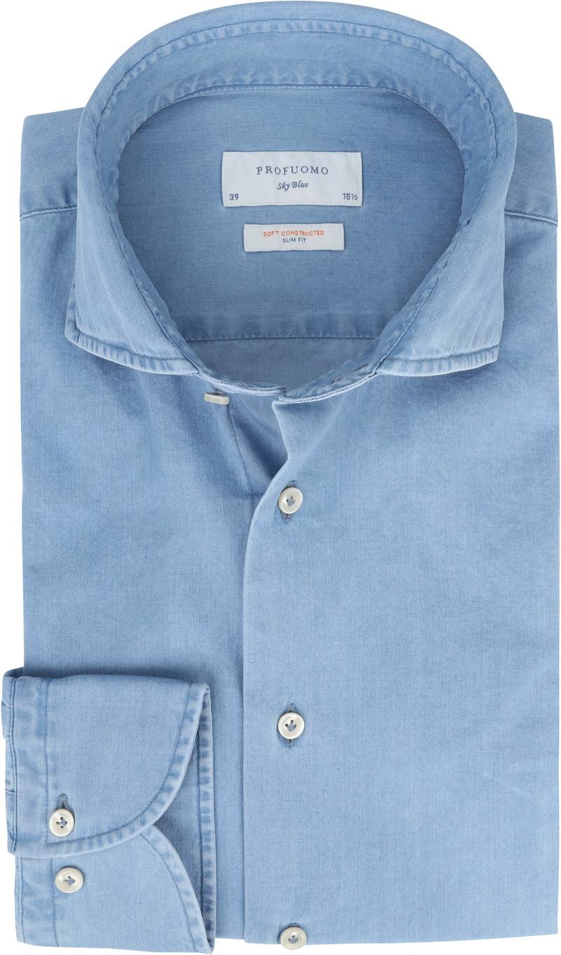 Profuomo Sky Blue SF Overhemd Denim Lichtblauw