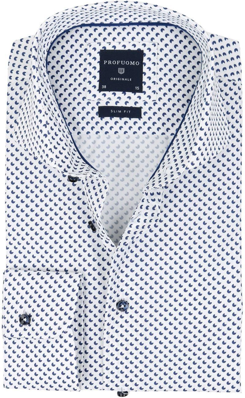 Profuomo Slim Fit Overhemd Wit met patroon  online bestellen | Suitable