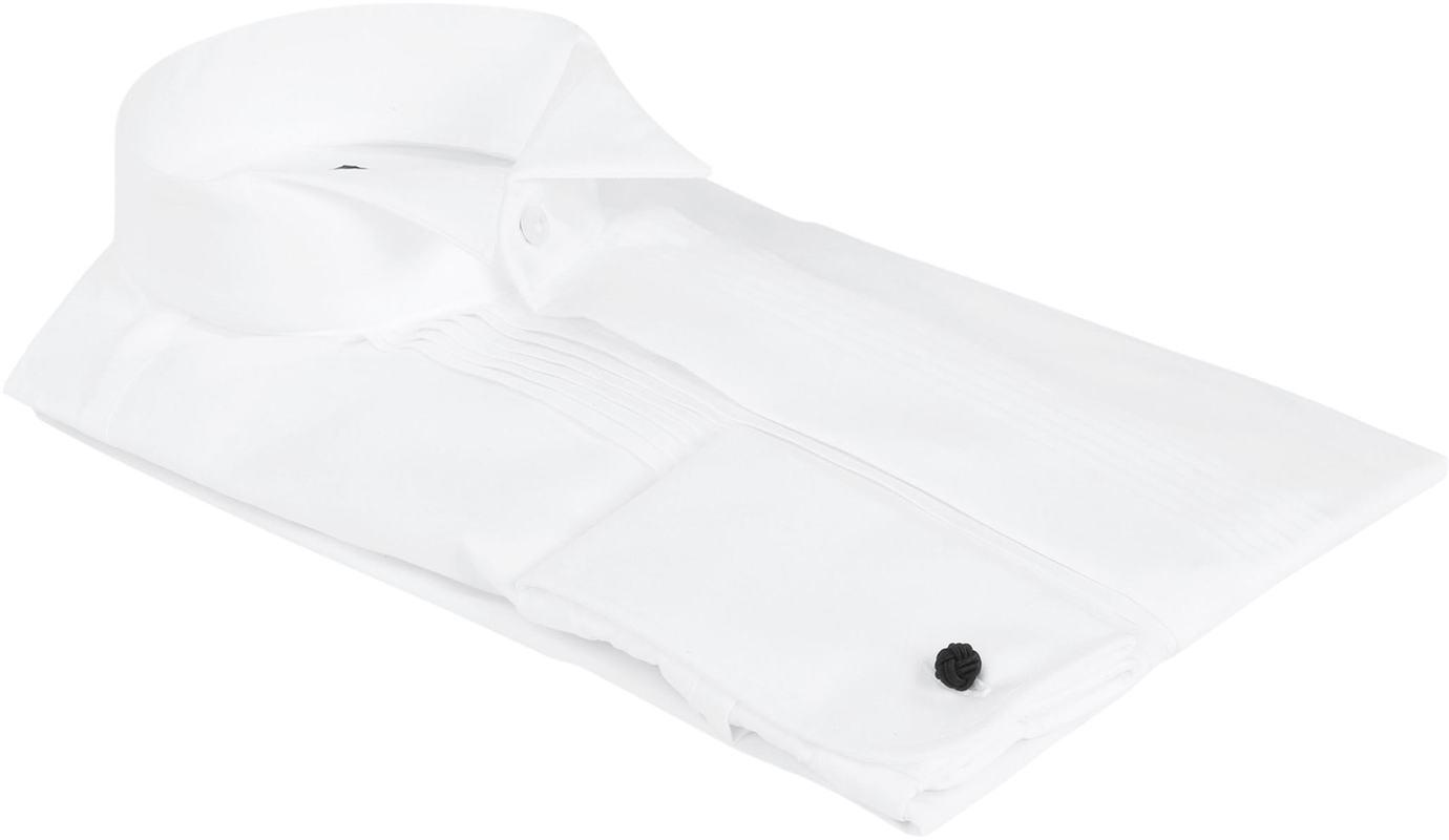 Profuomo Smoking Hemd Plissiert Slim Fit Weiß
