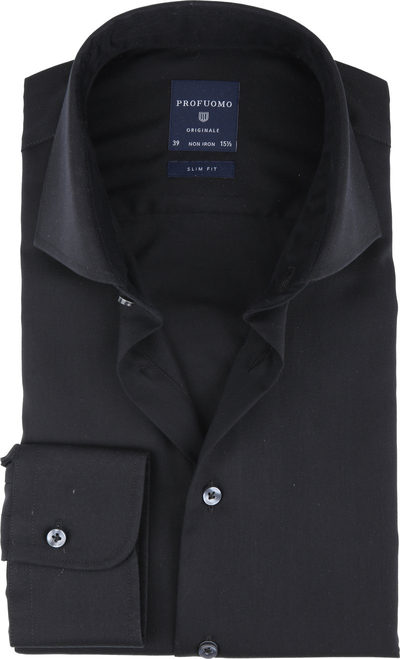 Profuomo Strijkvrij Overhemd Zwart foto 0