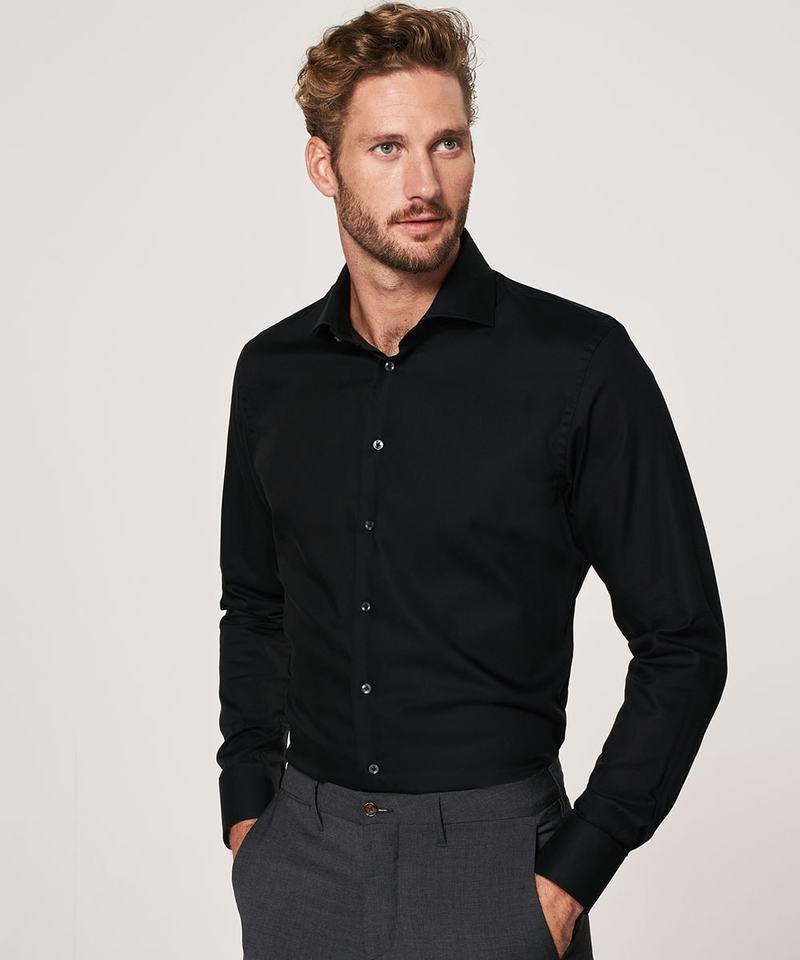 Profuomo Strijkvrij Overhemd Zwart foto 4