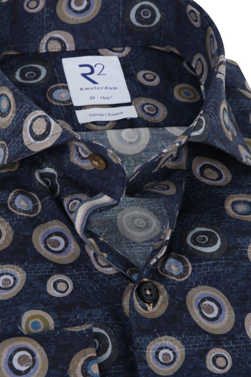 R2 Overhemd Blauw Rondjes - Donkerblauw maat 43