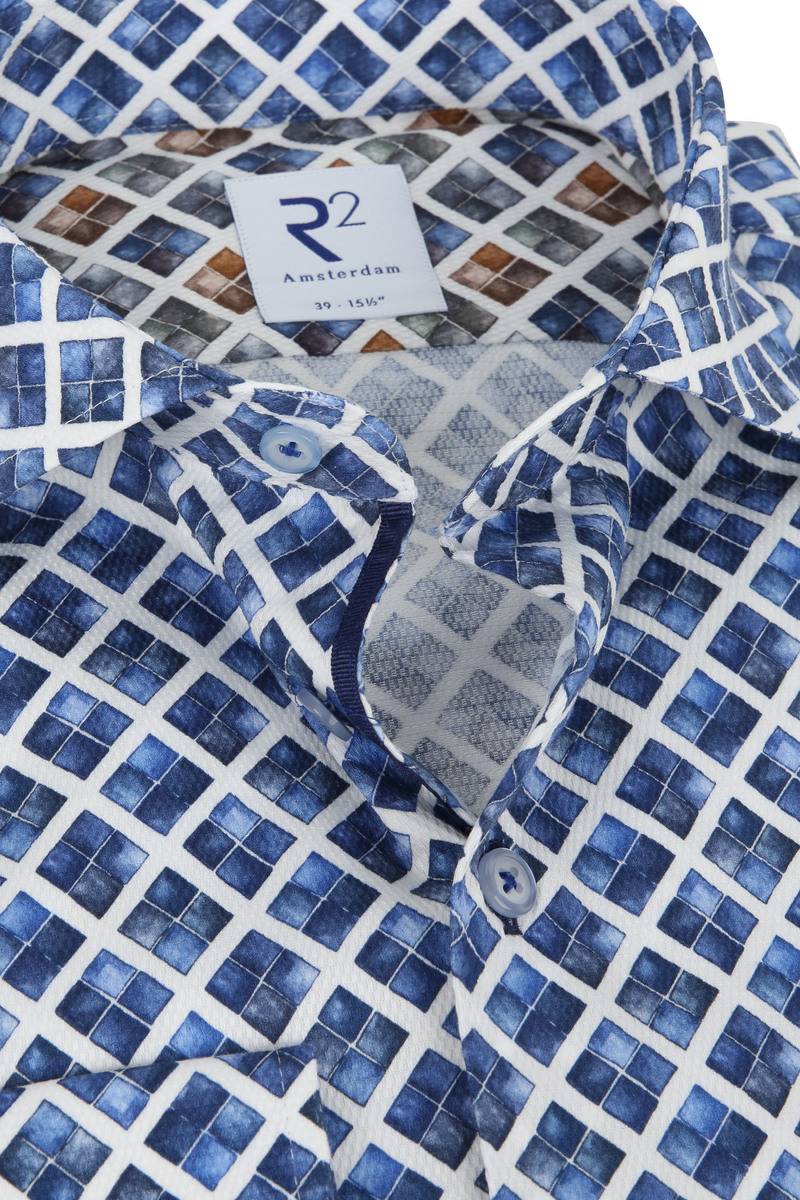 R2 Overhemd Blauwe Ruiten - Donkerblauw maat 46