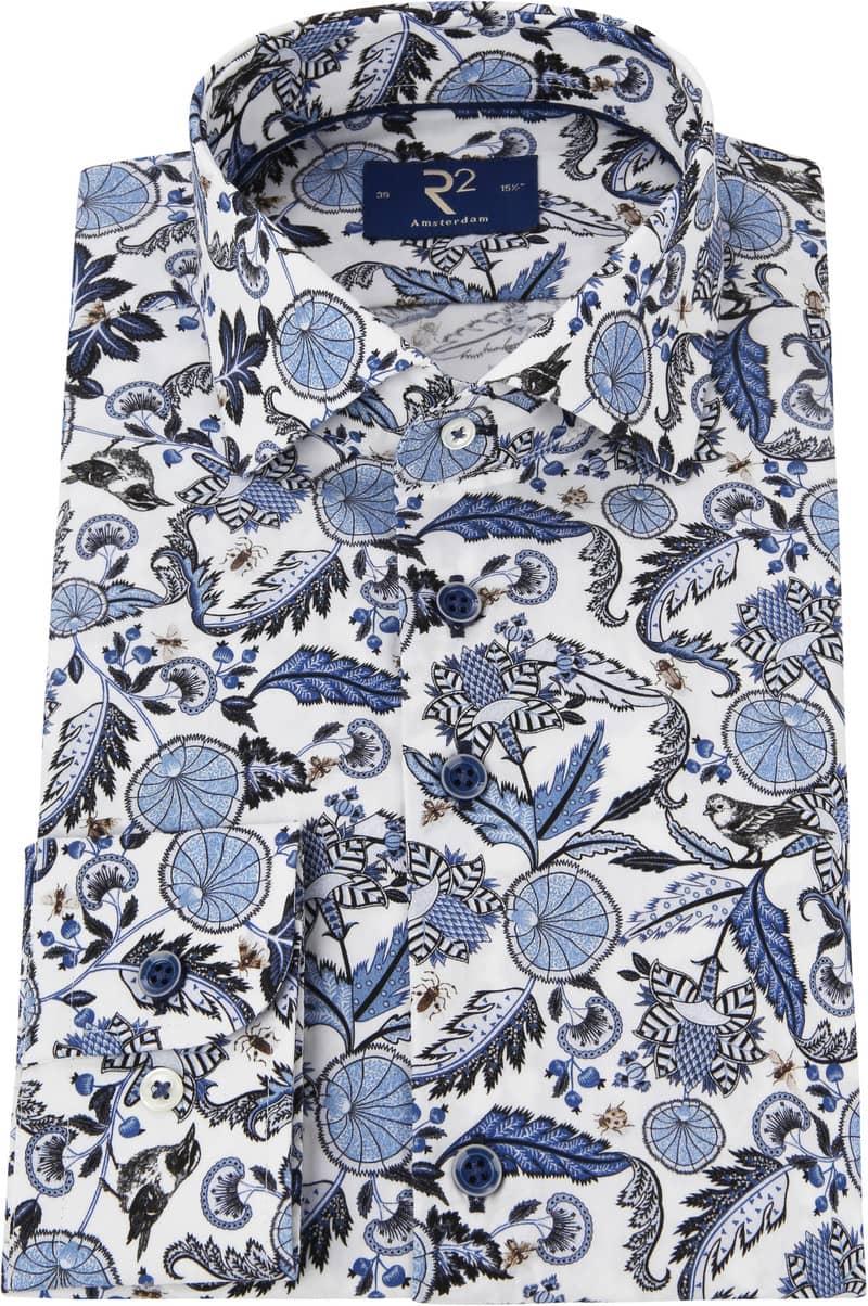 R2 Overhemd Bloemen Blauw foto 2