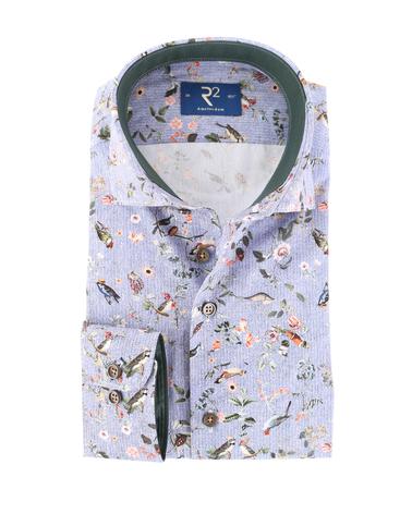 R2 Overhemd Bloemetjes Print Blauw  online bestellen | Suitable