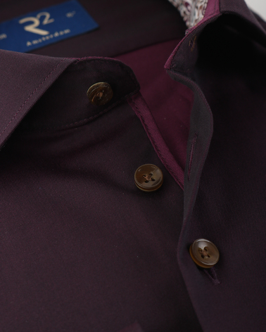 Detail R2 Overhemd Bordeaux Twill