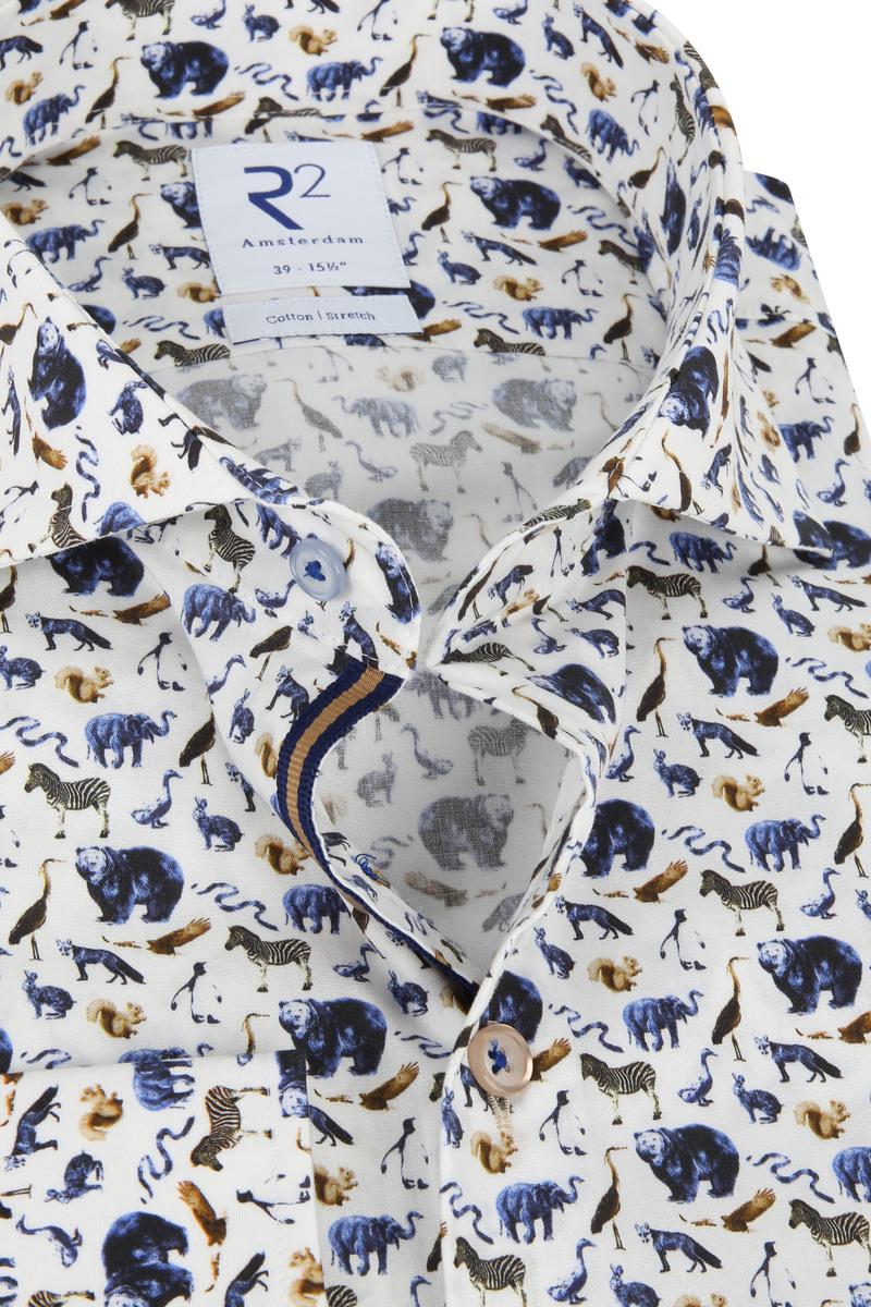 R2 Overhemd Dieren Print - Wit maat 38