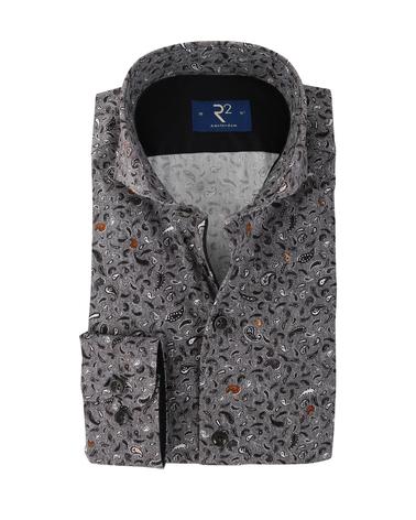 R2 Overhemd Donkergrijs Paisley  online bestellen | Suitable